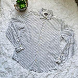 Vince Linen blend stripe button-down shirt